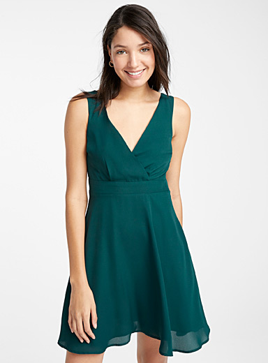 Twik Bottle Green Recycled polyester crossover dress for women