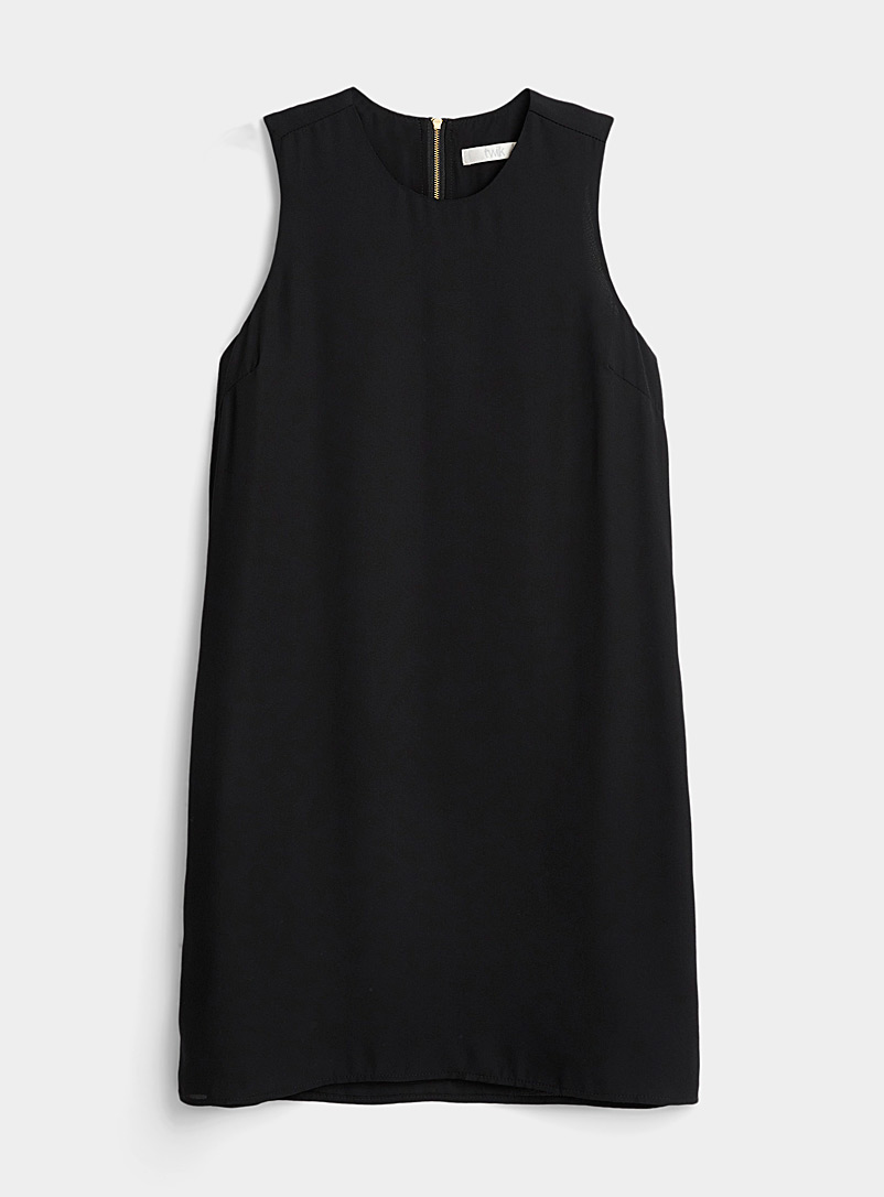 Twik Black Recycled polyester zip-back dress for women