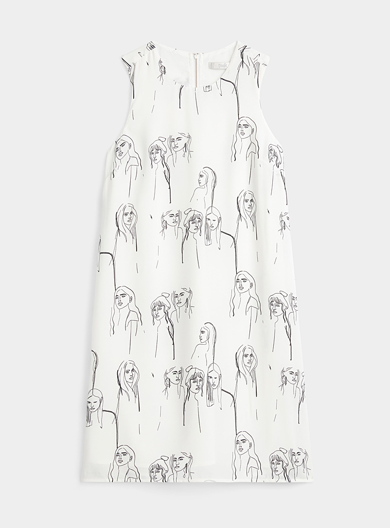 Twik Ivory White Recycled polyester zip-back dress for women
