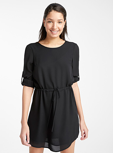 Recycled polyester laced waist dress