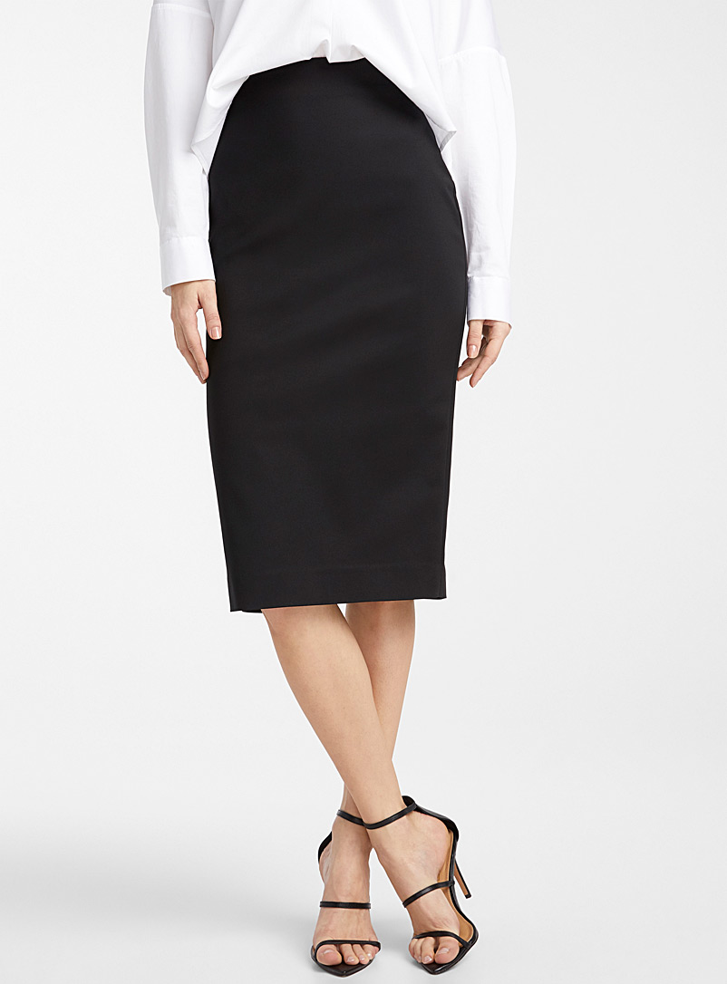 Icône Black Midi pencil skirt for women