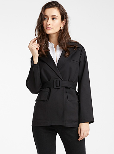 Belted stretch cotton jacket