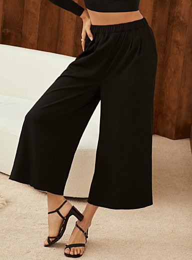 Recycled polyester elastic-waist culottes