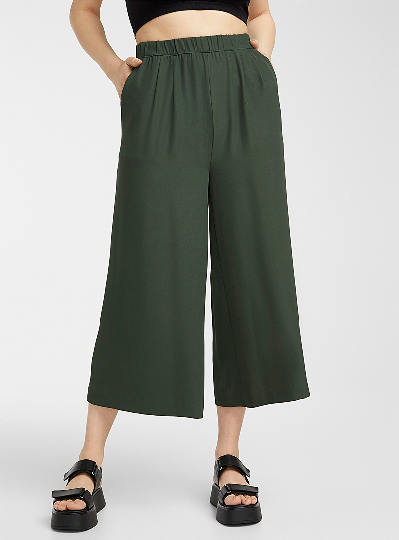 Icône Mossy Green Recycled polyester elastic-waist culottes for women