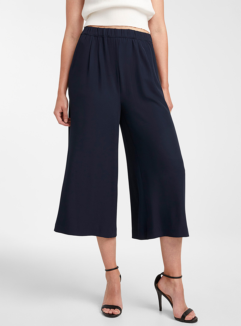 Icône Dark Blue Recycled polyester elastic-waist culottes for women