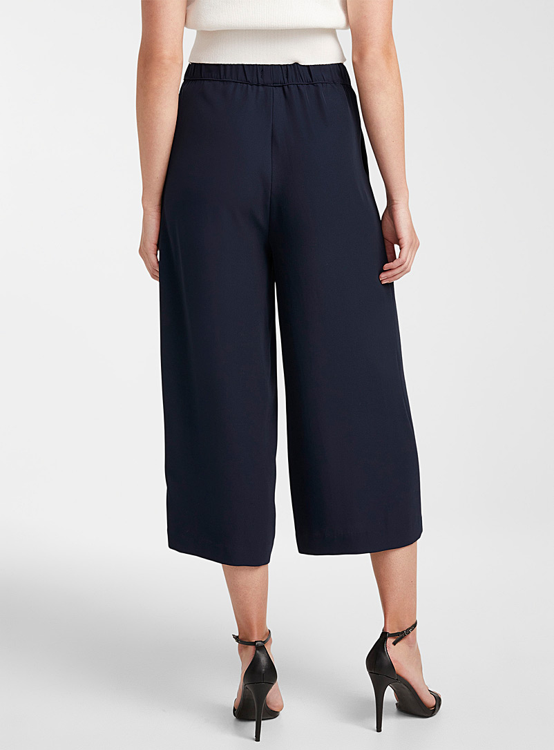 Icône Black Recycled polyester elastic-waist culottes for women