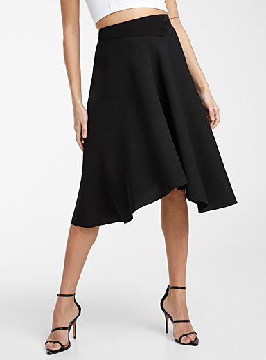 Recycled polyester asymmetric hem skirt