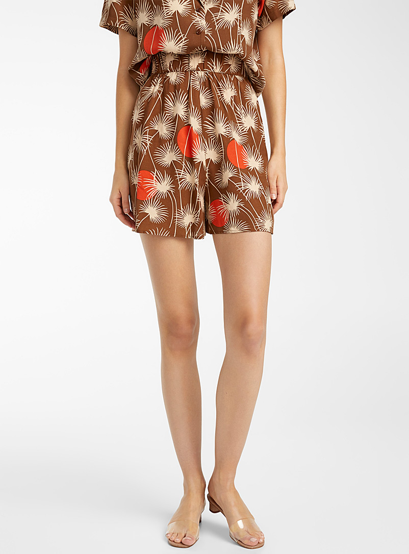 Ic?ne Patterned Brown  Tropical graphic shorts for women