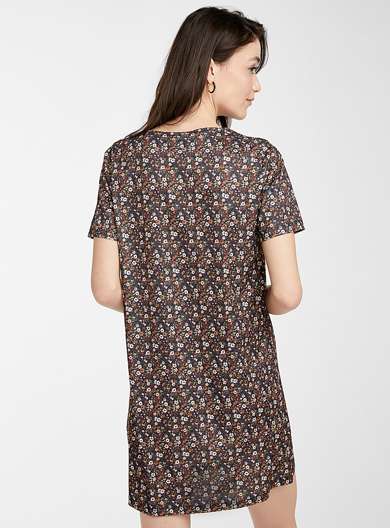 Icône Patterned Brown Recycled polyester patterned straight dress for women