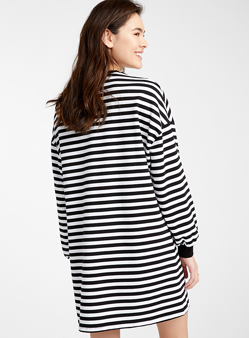 Twik Black and White Striped organic cotton balloon-sleeve dress for women