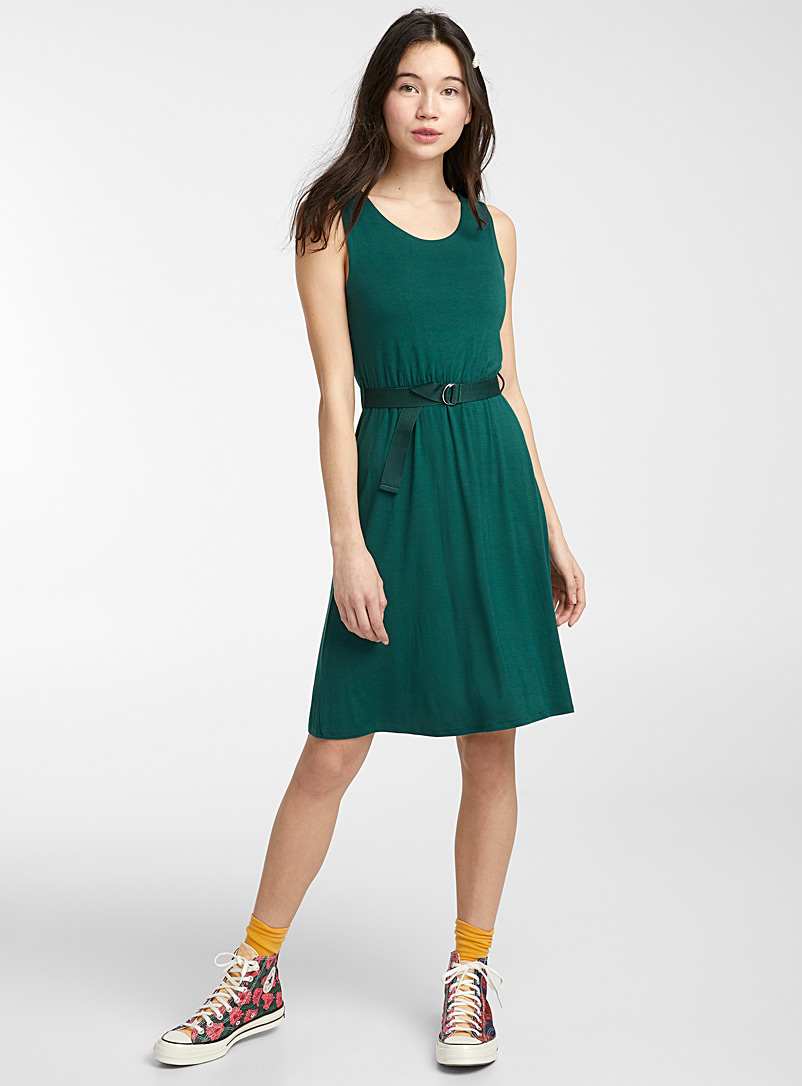 Twik Bottle Green Eco-friendly viscose belted dress for women