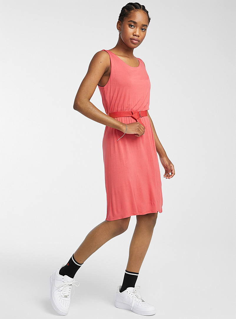 Twik Red Eco-friendly viscose belted dress for women