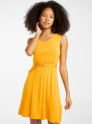 Eco-friendly viscose belted dress