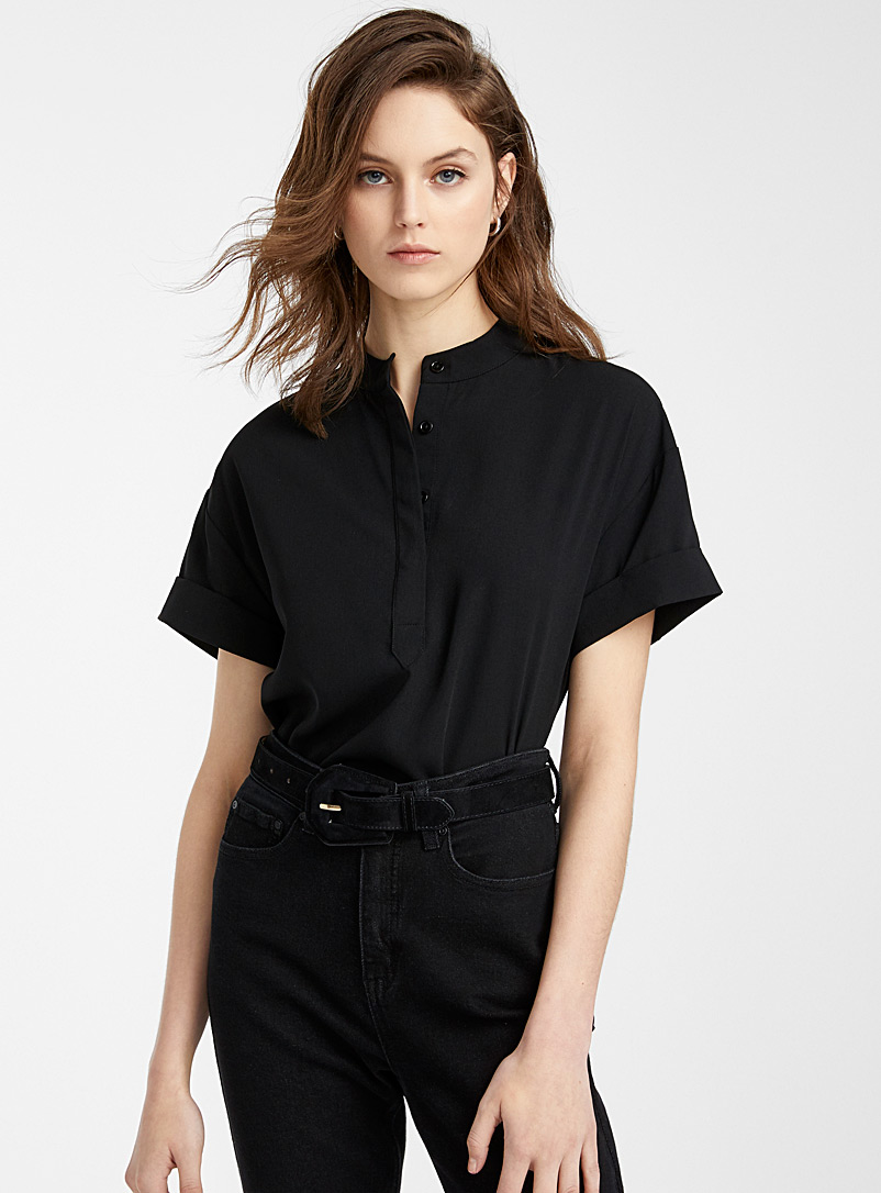 Icône Black Recycled polyester officer collar blouse for women