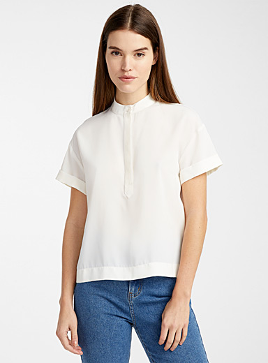 Recycled polyester officer collar blouse