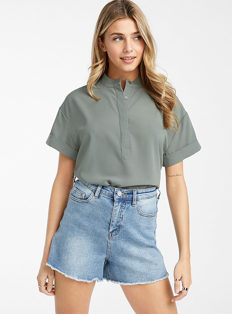Icône Khaki Recycled polyester officer collar blouse for women