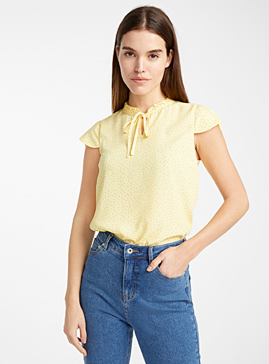 Recycled polyester ruched-neck blouse