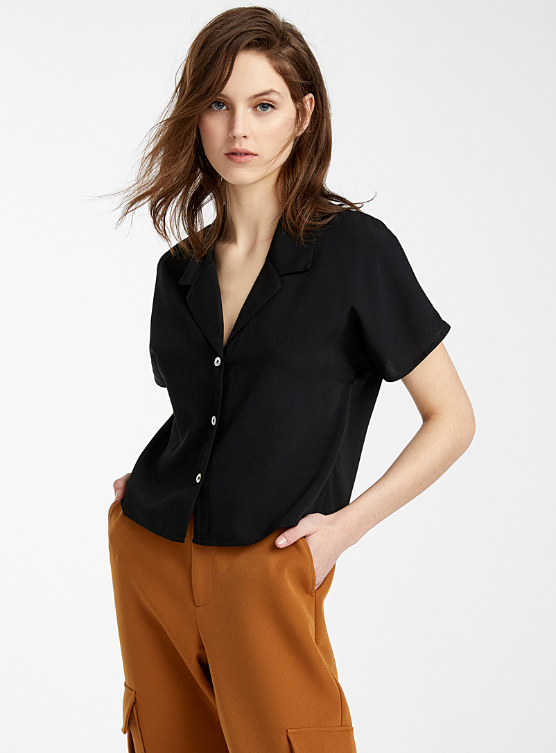 Recycled polyester notch collar blouse