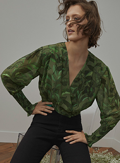 Buttoned crossover blouse