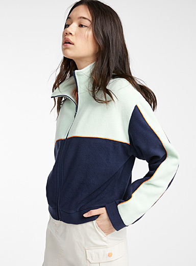 Recycled polyester colour block fleece sweatshirt