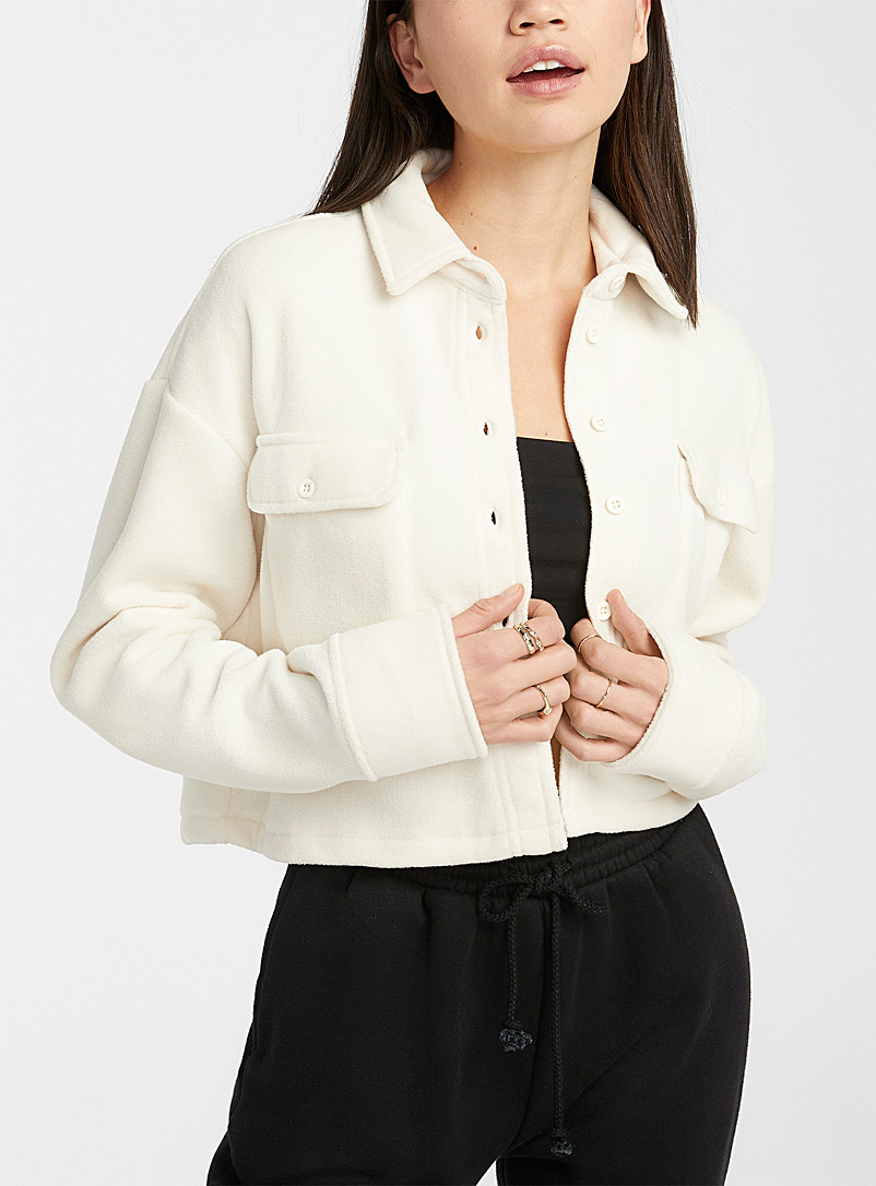 Twik Ivory White Recycled polyester fleece shacket for women