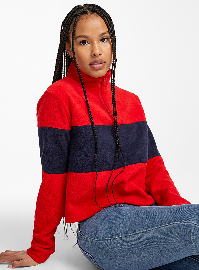Twik Patterned Red Recycled polyester cropped fleece sweatshirt for women