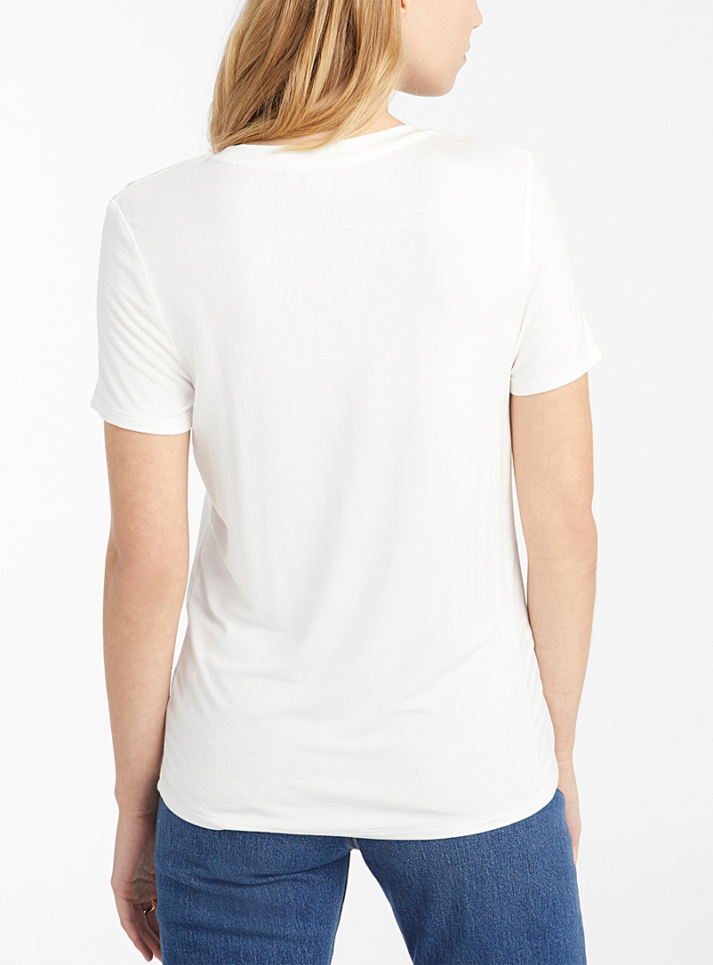 Twik Patterned beige Spring mood crew neck tee for women