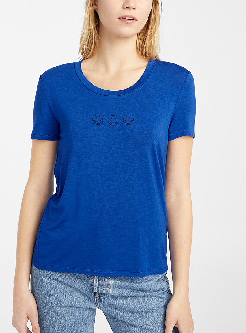 Twik Blue Spring mood crew neck tee for women