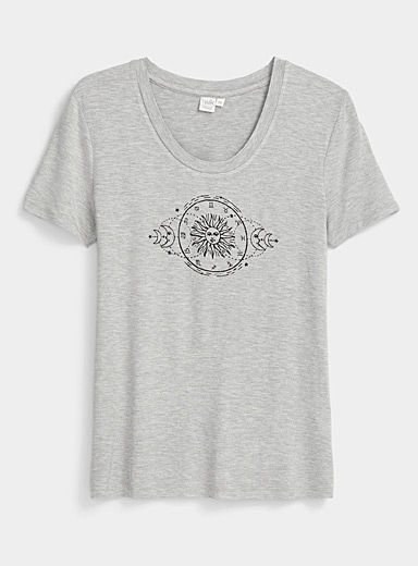 Twik Light Grey Spring mood crew neck tee for women