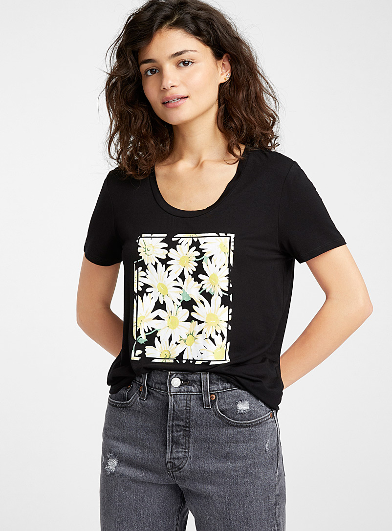 Twik Patterned Black Spring mood crew neck tee for women