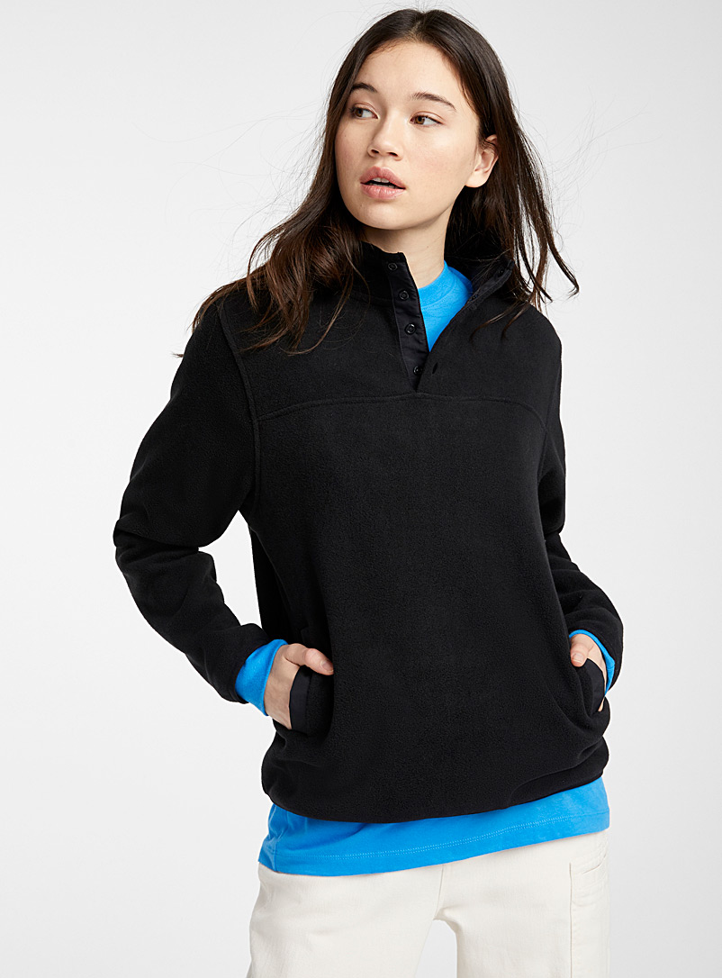 Twik Black Recycled polyester fleece half-button sweatshirt for women