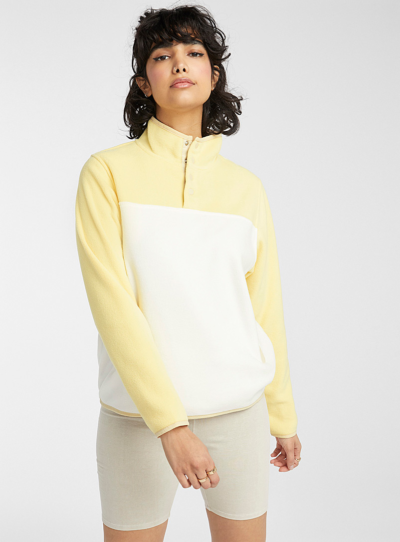 Twik White Recycled polyester fleece half-button sweatshirt for women