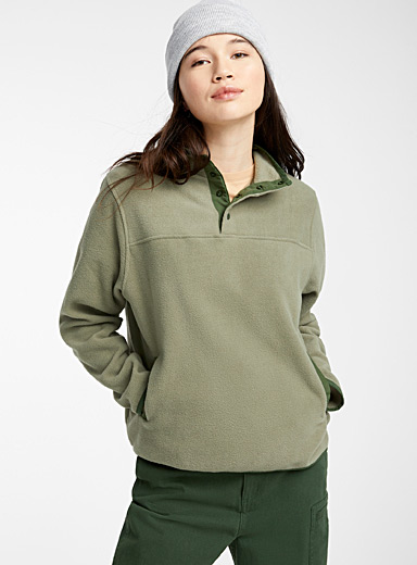 Recycled polyester fleece half-button sweatshirt