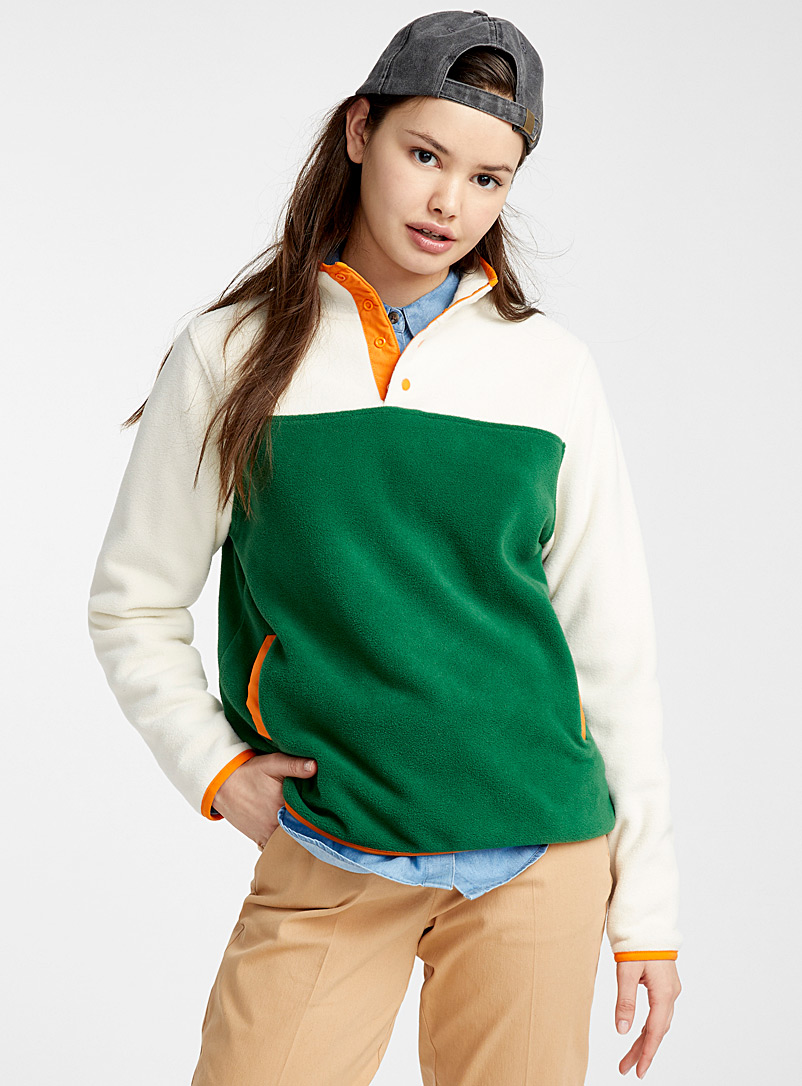 Twik Patterned Green Recycled polyester fleece half-button sweatshirt for women