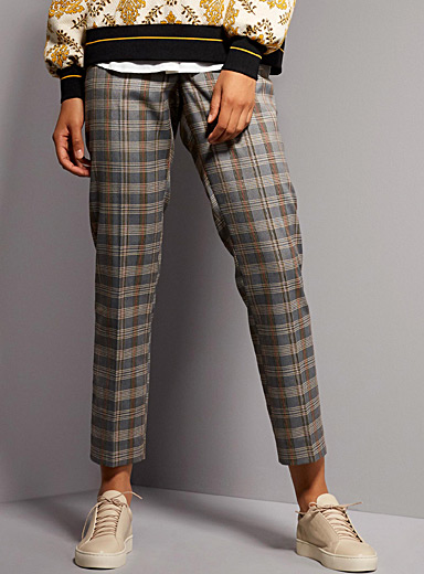 Accent elastic-waist check pant