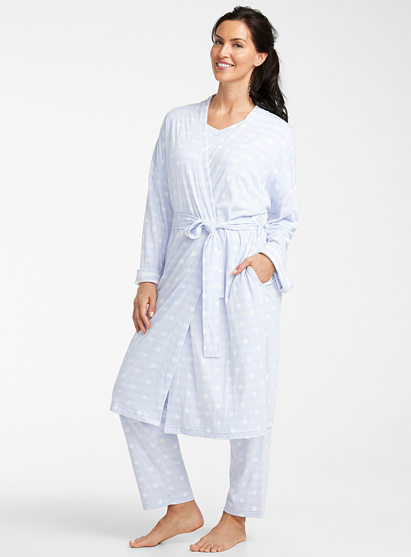 Miiyu Patterned Blue White dot lined robe for women