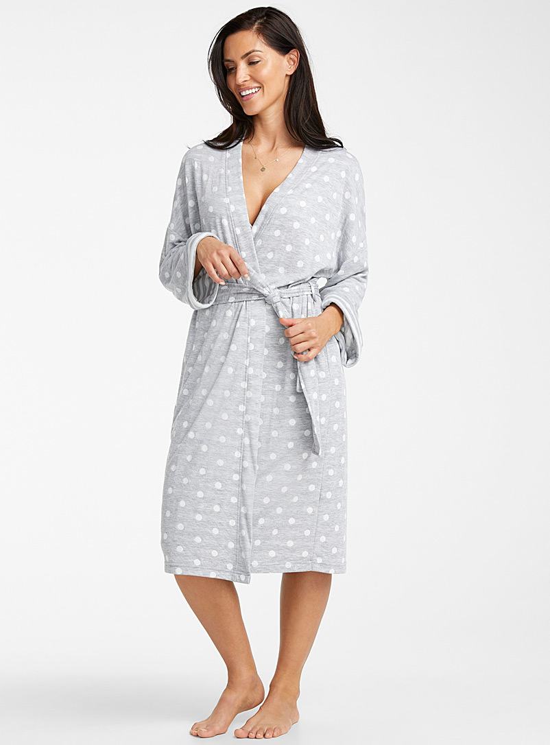 Miiyu Patterned Grey White dot lined robe for women