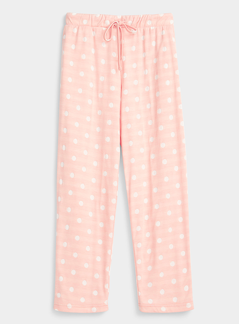 Miiyu Pink White dot lined pant for women