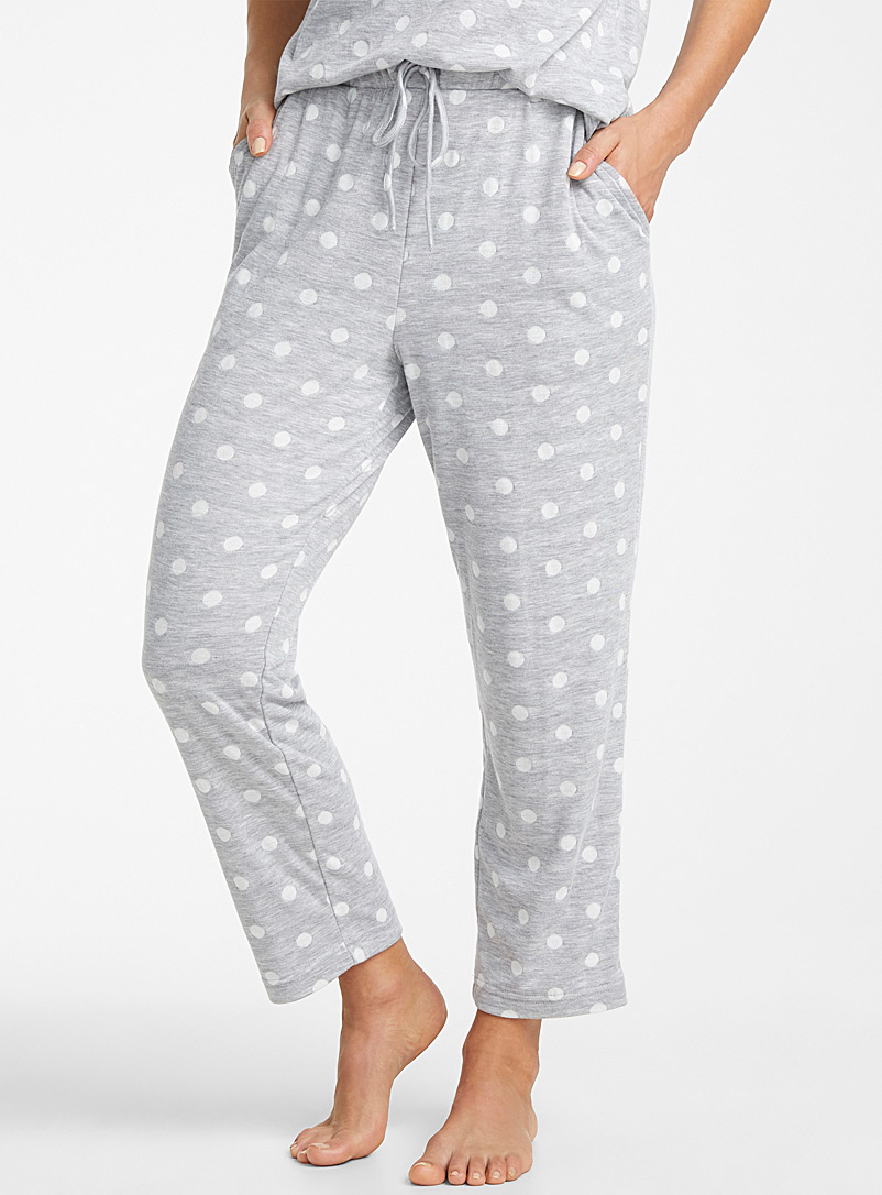Miiyu Patterned Grey White dot lined pant for women