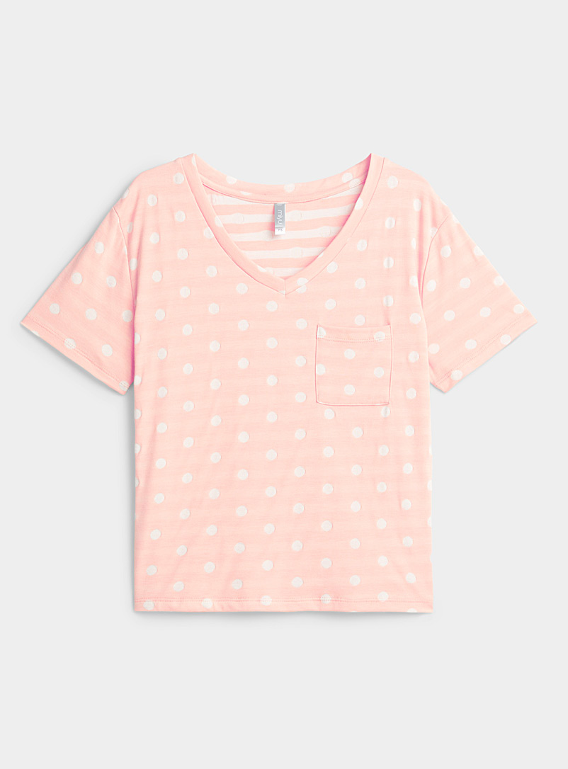 Miiyu Pink White dot lined tee for women