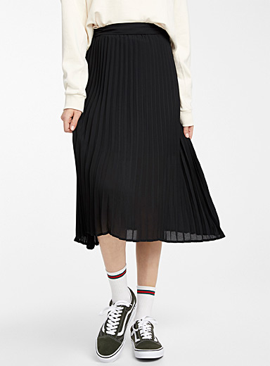 Recycled polyester pleated voile skirt