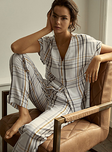 Ochre check pyjama set