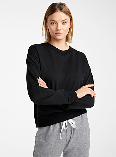 Miiyu Black Recycled polyester lounge sweatshirt for women