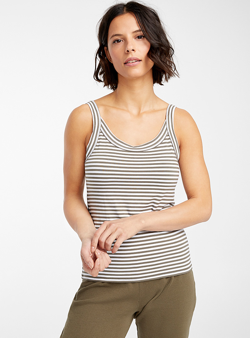 Miiyu Khaki Eco-friendly natural stripe cami for women