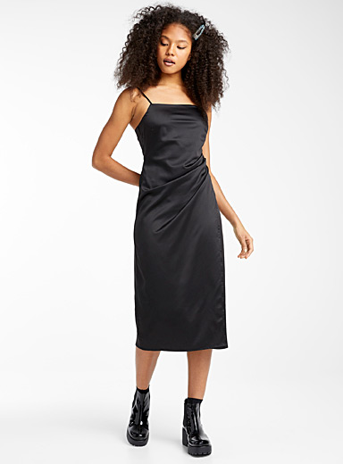Twik Oxford Satiny draped square-neck dress for women