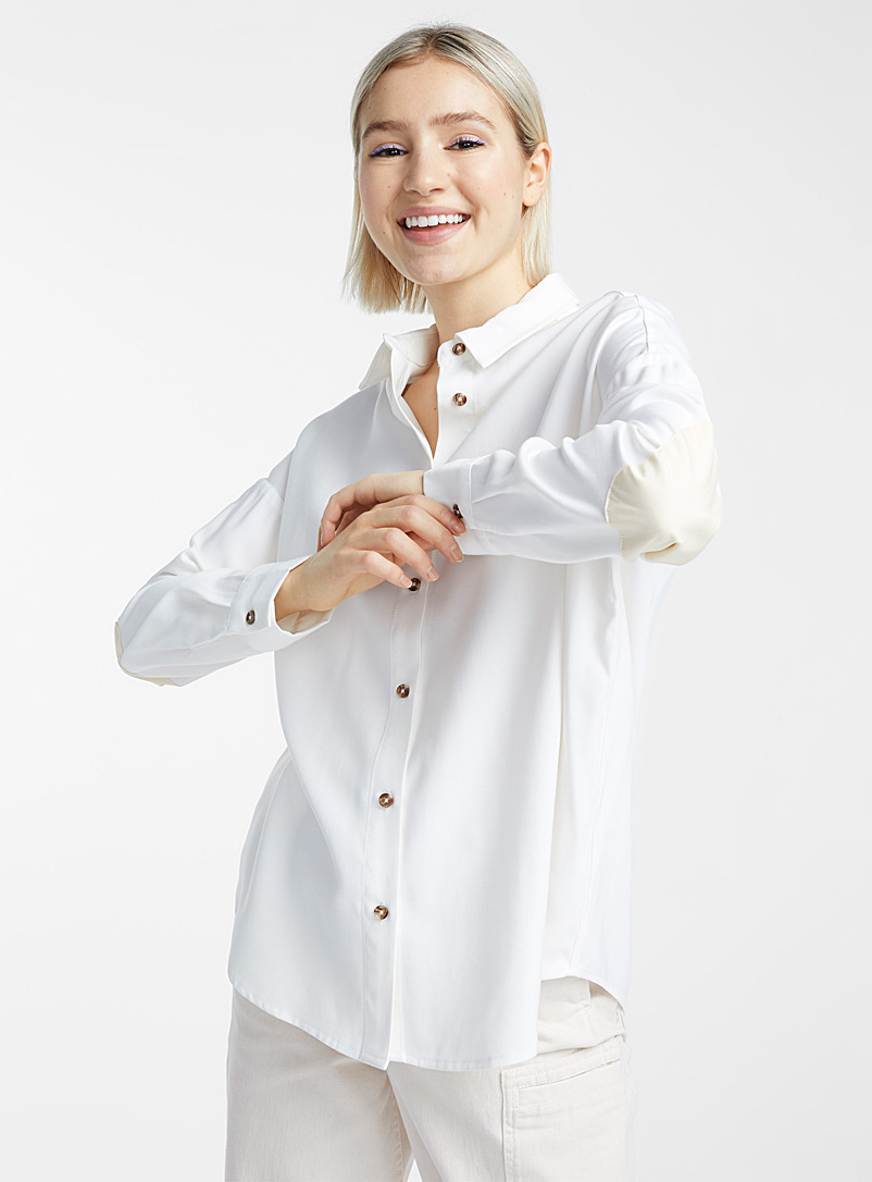 Twik White Accent elbow utilitarian shirt for women