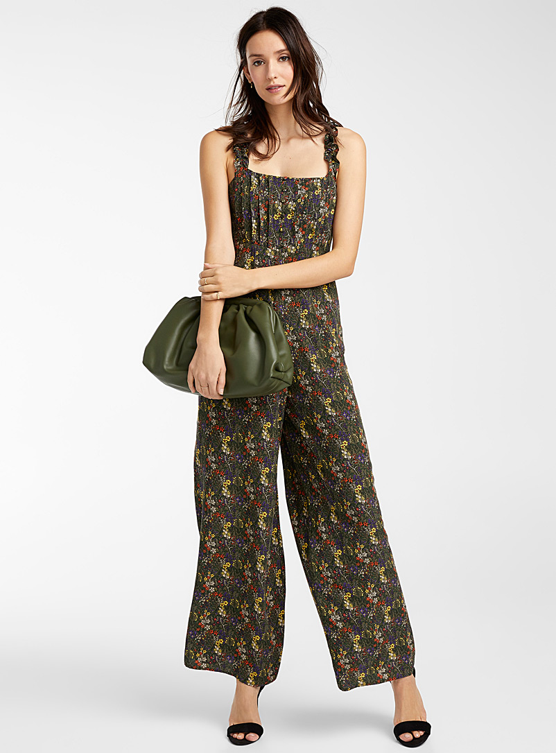 Ic?ne Patterned Black Ruffle-strap tropical jumpsuit for women