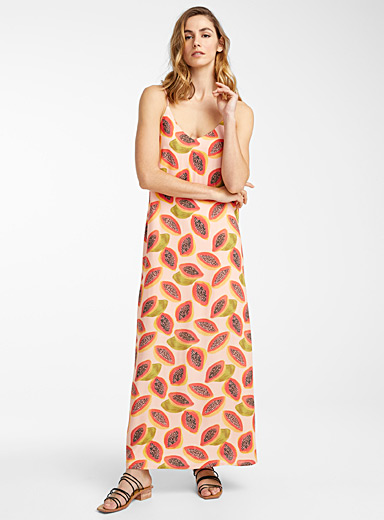 Icône Patterned Yellow Thin-strap eco-friendly viscose sundress for women