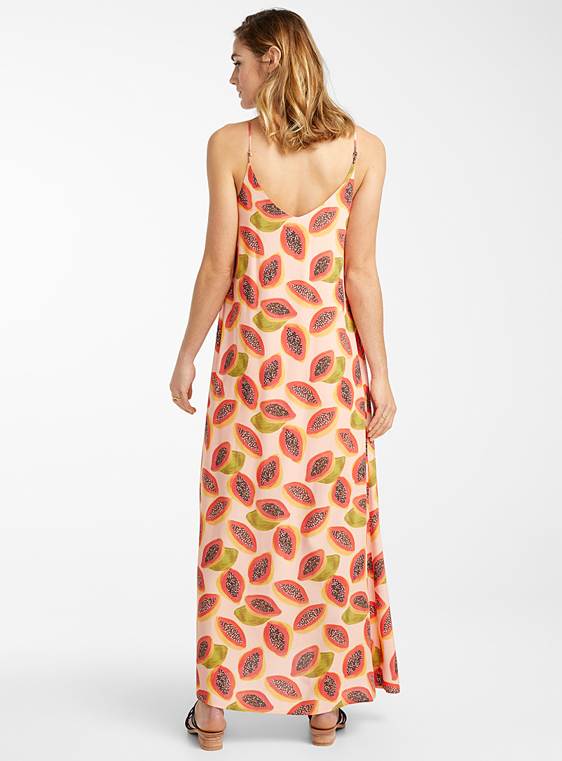 Icône Patterned Yellow Eco-friendly viscose fine strap sundress for women