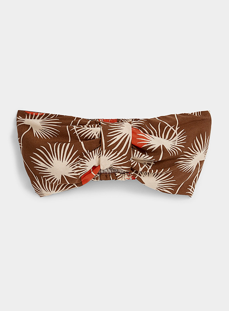 Ic?ne Patterned Green Tropical graphic bandeau top for women